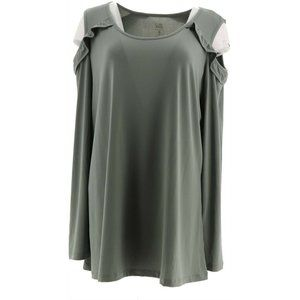 Belle by Kim Gravel Ruffle Cold Shoulder Top